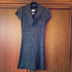 Short sleeve cowl-neck sweater dress